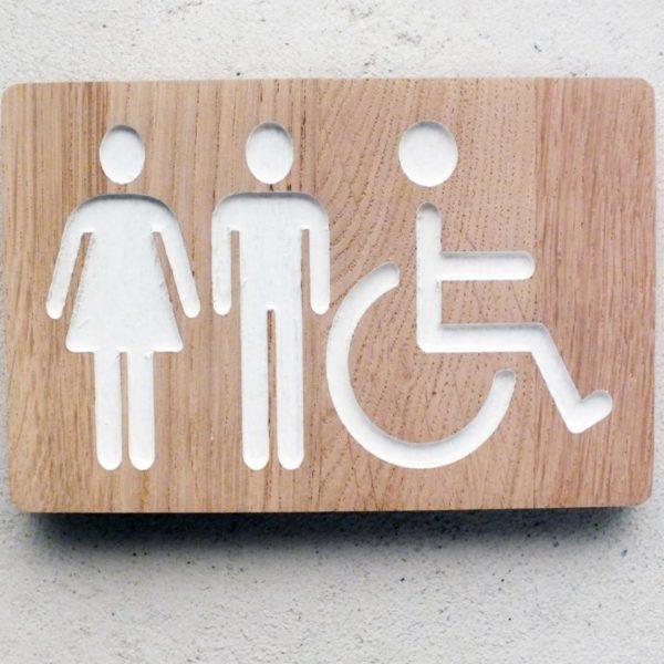 panneau pour les wc avec pictogramme homme femme handicapé