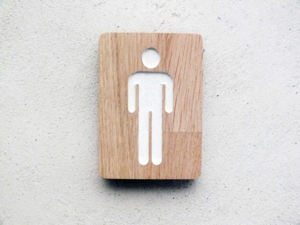 panneau pour les wc homme