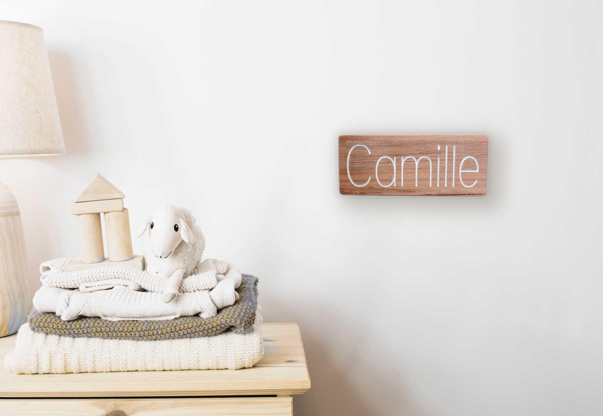 Pancarte en bois pour porte de chambre avec gravure personnalisable - Porte en bois pour chambre ...