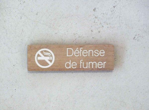 panneau interdiction de fumer en bois massif